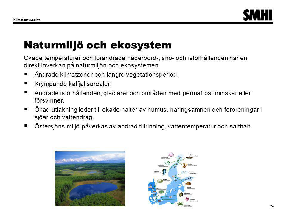 Naturmiljö och ekosystem Ökade temperaturer och förändrade nederbörd-, snö- och isförhållanden har en direkt inverkan på naturmiljön och ekosystemen.