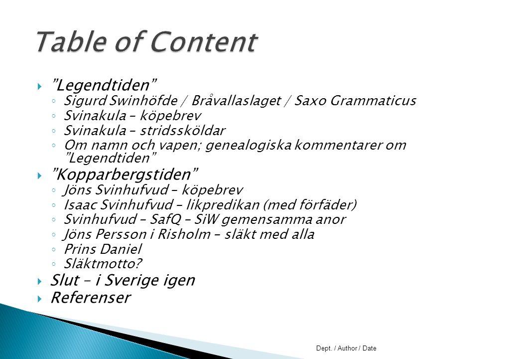 """ """"Legendtiden"""" ◦ Sigurd Swinhöfde / Bråvallaslaget / Saxo Grammaticus ◦ Svinakula – köpebrev ◦ Svinakula – stridssköldar ◦ Om namn och vapen; genealo"""
