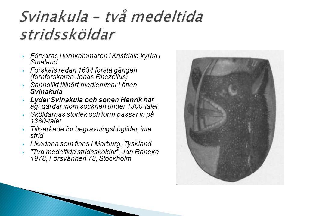  Förvaras i tornkammaren i Kristdala kyrka i Småland  Forskats redan 1634 första gången (fornforskaren Jonas Rhezelius)  Sannolikt tillhört medlemm
