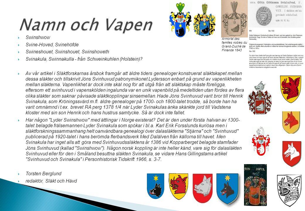  Det förefaller alltså som om det nu med ännu större säkerhet kan slås fast att Jonisse i Höjen och Stämnarvet är den första kände bäraren av Svinhuvudnamnet i Sverige  Det faktum att brevtexten inte är förfalskad styrker också det av många redan gjorda antagandet att Jöns Svinhuvud verkligen är äldsta kända stamfar för den vittutgrenade släktkrets i Kopparbergslagen, som framträder på 1400-talet förandes ett vildsvinshuvud i vapnet  Denna gamla Svinhuvudsläkt – i vilken de bägge fortlevande ätterna Svinhufvud af Qvalstad och Svinhufvud i Westergötland, som påpekats ovan, har sina äldsta kända rötter – brukar kallas Dalarnas äldsta frälsesläkt  Dess myndiga medlemmar spelar en framträdande roll i Kopparbergslagens och Dalarnas historia under sen medeltid, inte minst i driften av Sveriges viktigaste bergverk vid denna tid, koppargruvan i Tiskasjöberg (Falun) Johan A Lundberg Svinhufvud – ett namn med anor