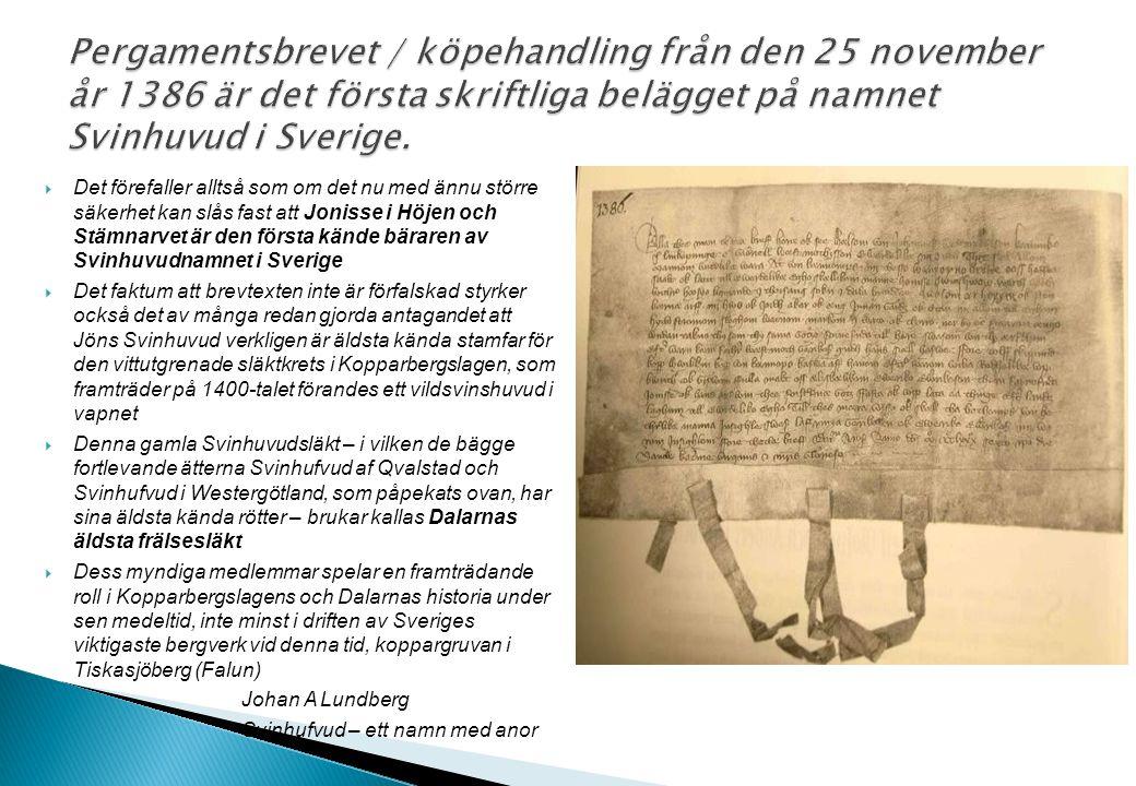  Det förefaller alltså som om det nu med ännu större säkerhet kan slås fast att Jonisse i Höjen och Stämnarvet är den första kände bäraren av Svinhuv