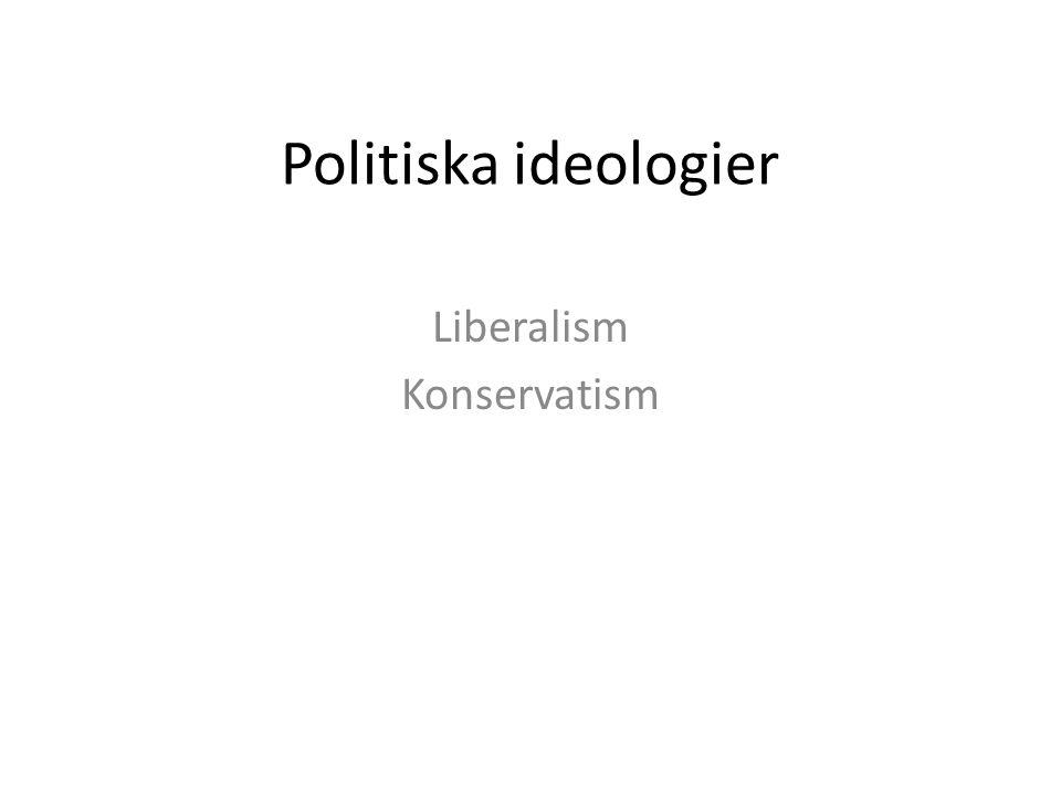 Politiska ideologier Liberalism Konservatism