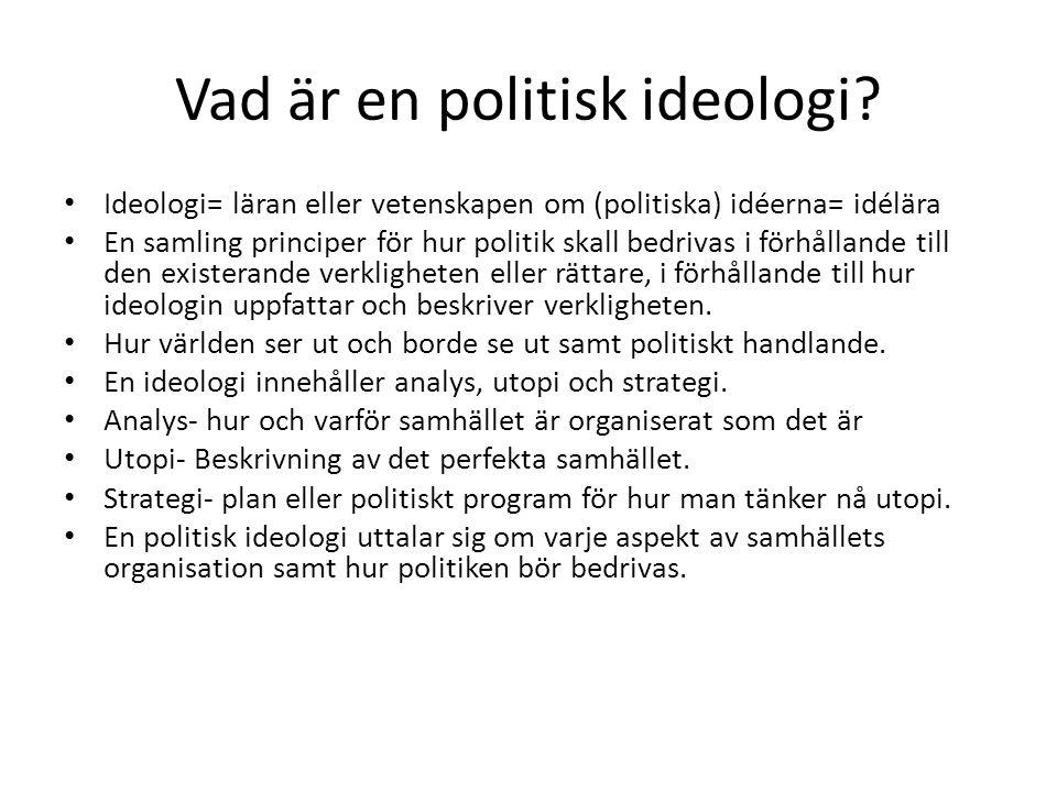 Vad är en politisk ideologi? • Ideologi= läran eller vetenskapen om (politiska) idéerna= idélära • En samling principer för hur politik skall bedrivas