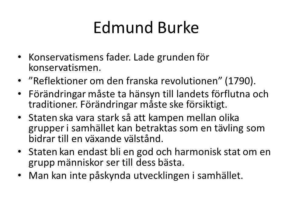 """Edmund Burke • Konservatismens fader. Lade grunden för konservatismen. • """"Reflektioner om den franska revolutionen"""" (1790). • Förändringar måste ta hä"""