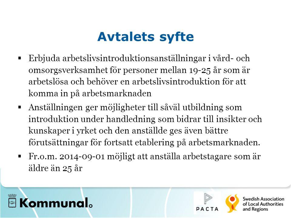 Avtalets syfte  Erbjuda arbetslivsintroduktionsanställningar i vård- och omsorgsverksamhet för personer mellan 19-25 år som är arbetslösa och behöver