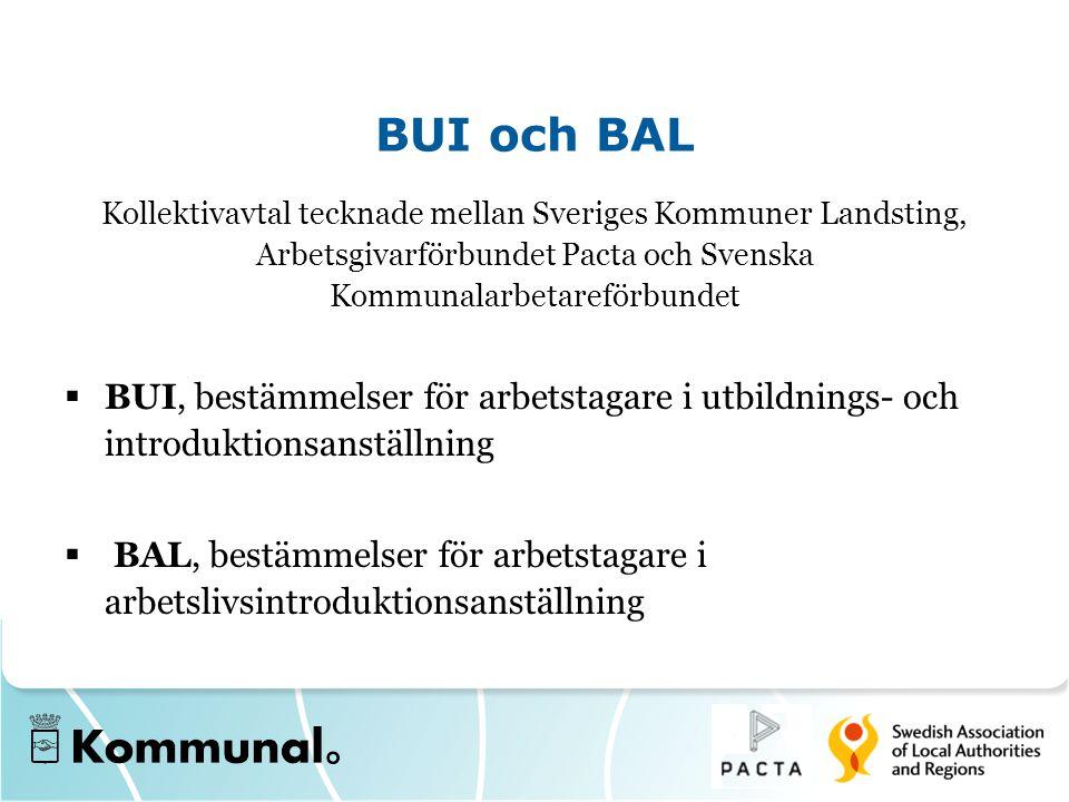 BUI och BAL Kollektivavtal tecknade mellan Sveriges Kommuner Landsting, Arbetsgivarförbundet Pacta och Svenska Kommunalarbetareförbundet  BUI, bestäm