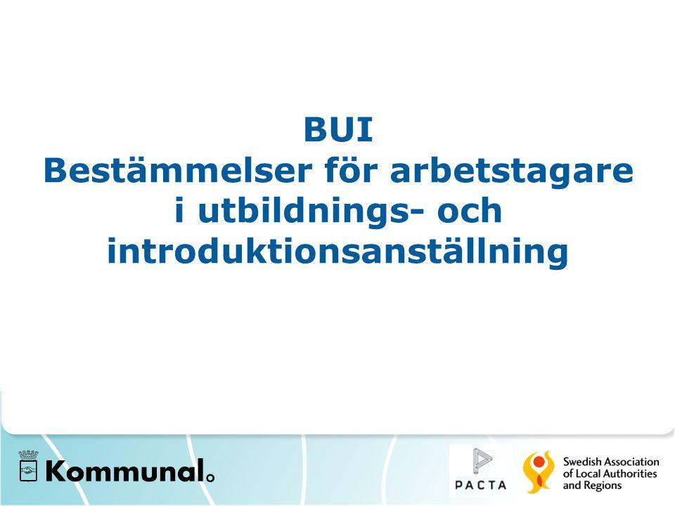 BUI Bestämmelser för arbetstagare i utbildnings- och introduktionsanställning