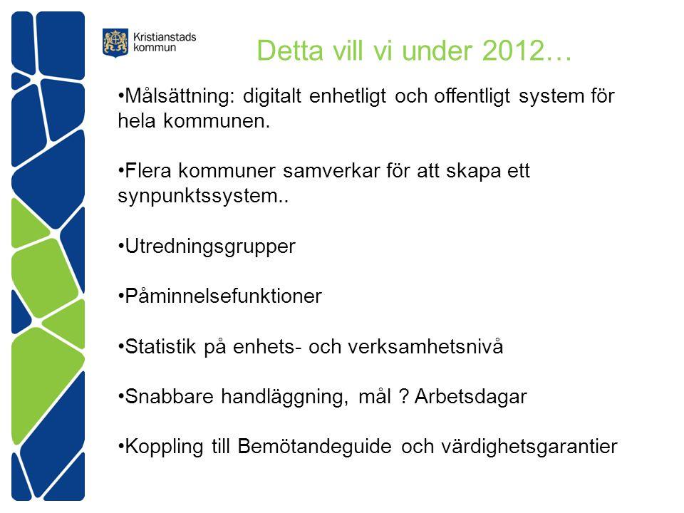 Detta vill vi under 2012… •Målsättning: digitalt enhetligt och offentligt system för hela kommunen.