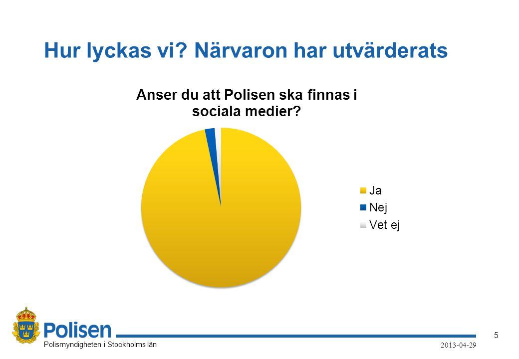 5 Polismyndigheten i Stockholms län 2013-04-29 Hur lyckas vi? Närvaron har utvärderats