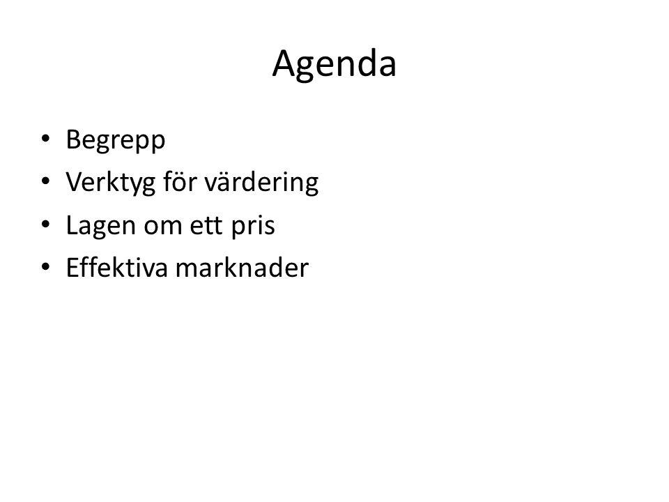 Agenda • Begrepp • Verktyg för värdering • Lagen om ett pris • Effektiva marknader