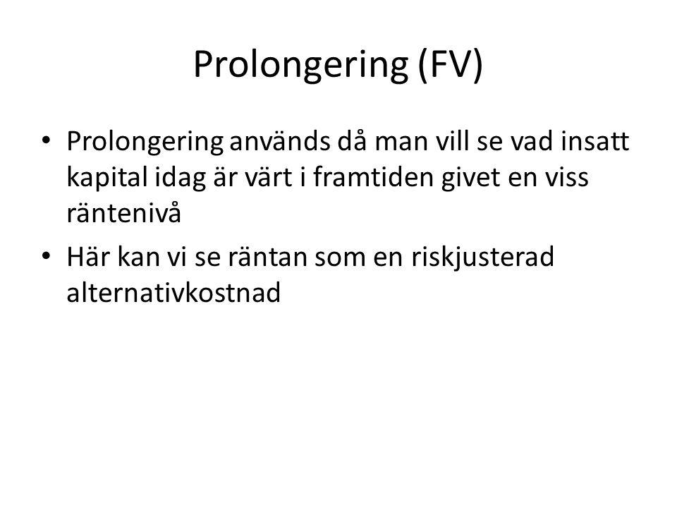 Prolongering (FV) • Prolongering används då man vill se vad insatt kapital idag är värt i framtiden givet en viss räntenivå • Här kan vi se räntan som en riskjusterad alternativkostnad
