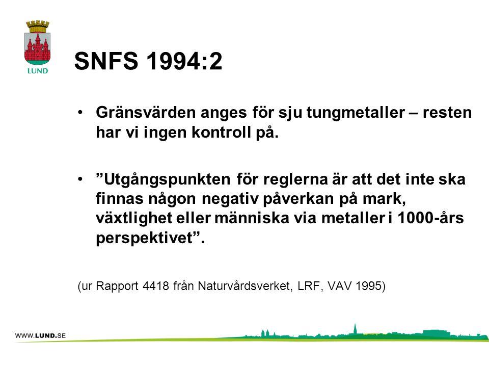 """SNFS 1994:2 •Gränsvärden anges för sju tungmetaller – resten har vi ingen kontroll på. •""""Utgångspunkten för reglerna är att det inte ska finnas någon"""