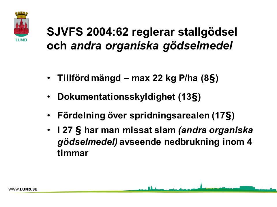 SJVFS 2004:62 reglerar stallgödsel och andra organiska gödselmedel •Tillförd mängd – max 22 kg P/ha (8§) •Dokumentationsskyldighet (13§) •Fördelning ö
