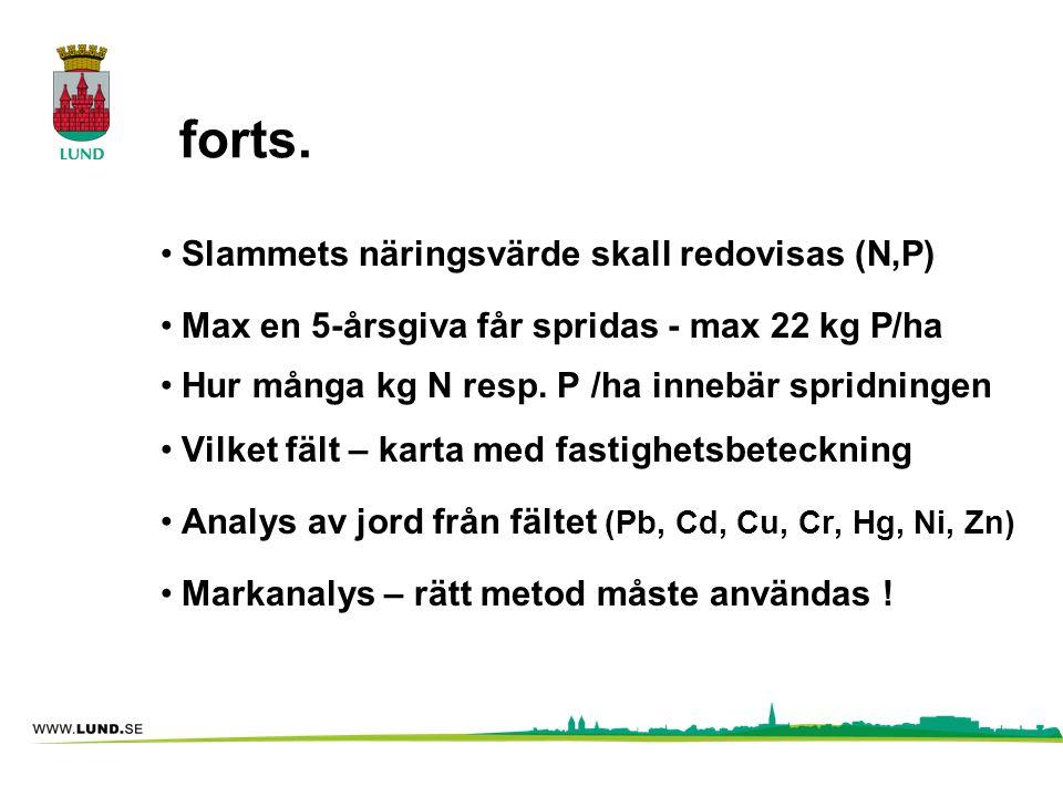 Kadmium •Kadmiumhalten i livsmedel måste minska för folkhälsans skull •För att uthålligt få minskning av Cd-halten i jordar måste Cd-halten i gödsel vara lägre än 12 mg Cd/kg P •Dagens Revaq-slam innehåller i snitt ca 30 mg Cd/kg P •Revaq har som mål att Cd/P kvoten ska minska till 17 mg Cd/kg P fram till år 2025 •All slamspridning innebär ackumulering av kadmium i jorden !