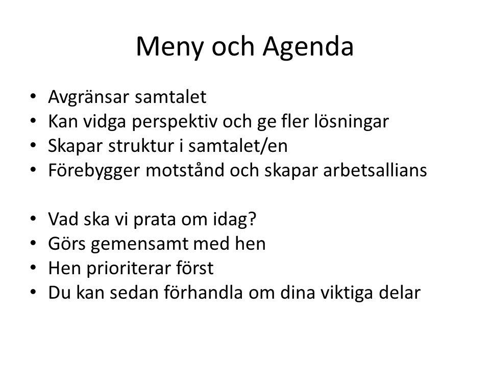Meny och Agenda • Avgränsar samtalet • Kan vidga perspektiv och ge fler lösningar • Skapar struktur i samtalet/en • Förebygger motstånd och skapar arbetsallians • Vad ska vi prata om idag.
