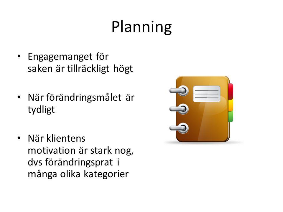 Planning • Engagemanget för saken är tillräckligt högt • När förändringsmålet är tydligt • När klientens motivation är stark nog, dvs förändringsprat i många olika kategorier