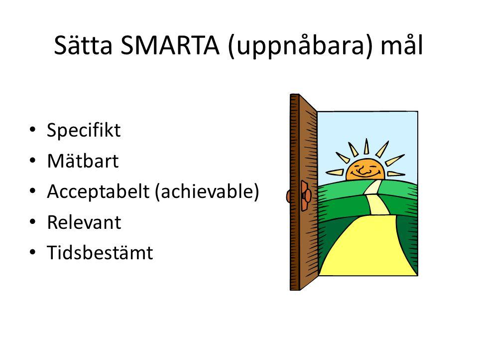 Sätta SMARTA (uppnåbara) mål • Specifikt • Mätbart • Acceptabelt (achievable) • Relevant • Tidsbestämt