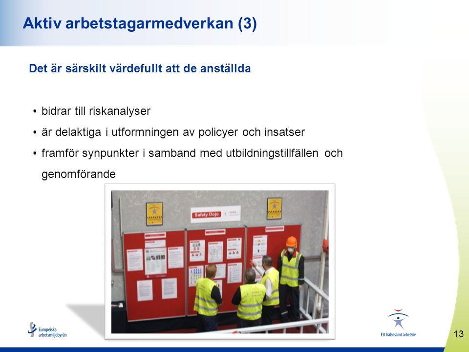 13 www.healthyworkplaces.eu Aktiv arbetstagarmedverkan (3) Det är särskilt värdefullt att de anställda •bidrar till riskanalyser •är delaktiga i utfor