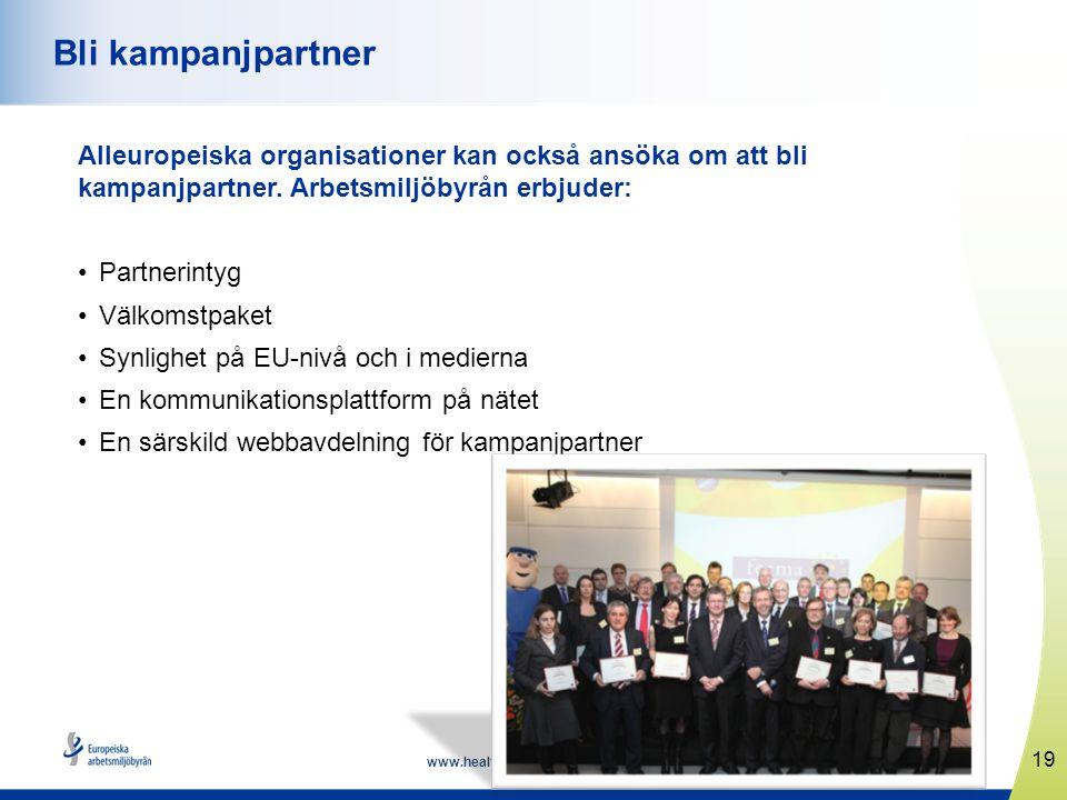 www.healthyworkplaces.eu Alleuropeiska organisationer kan också ansöka om att bli kampanjpartner. Arbetsmiljöbyrån erbjuder: •Partnerintyg •Välkomstpa