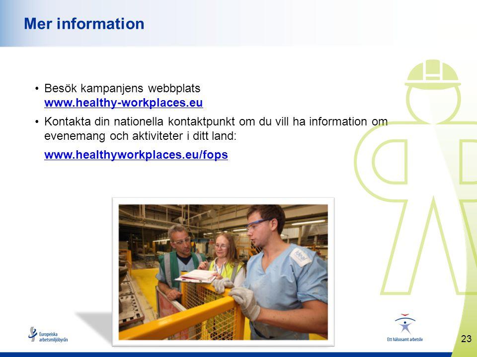 www.healthyworkplaces.eu •Besök kampanjens webbplats www.healthy-workplaces.eu www.healthy-workplaces.eu •Kontakta din nationella kontaktpunkt om du vill ha information om evenemang och aktiviteter i ditt land: www.healthyworkplaces.eu/fops 23 Mer information