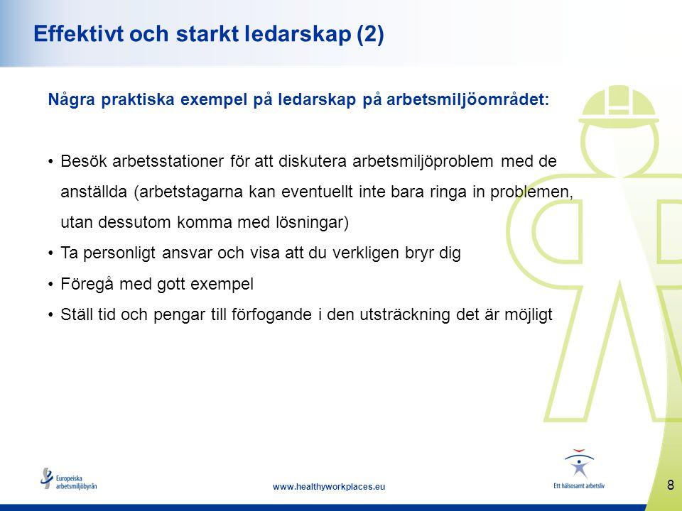 8 www.healthyworkplaces.eu Effektivt och starkt ledarskap (2) Några praktiska exempel på ledarskap på arbetsmiljöområdet: •Besök arbetsstationer för a