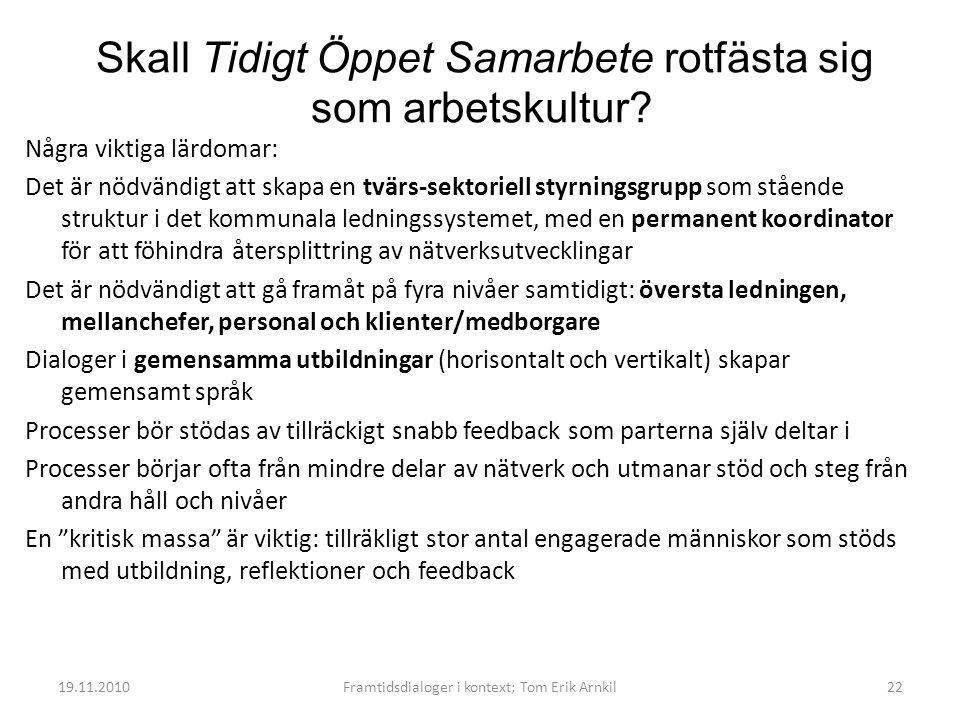 19.11.2010Framtidsdialoger i kontext; Tom Erik Arnkil22 Skall Tidigt Öppet Samarbete rotfästa sig som arbetskultur.
