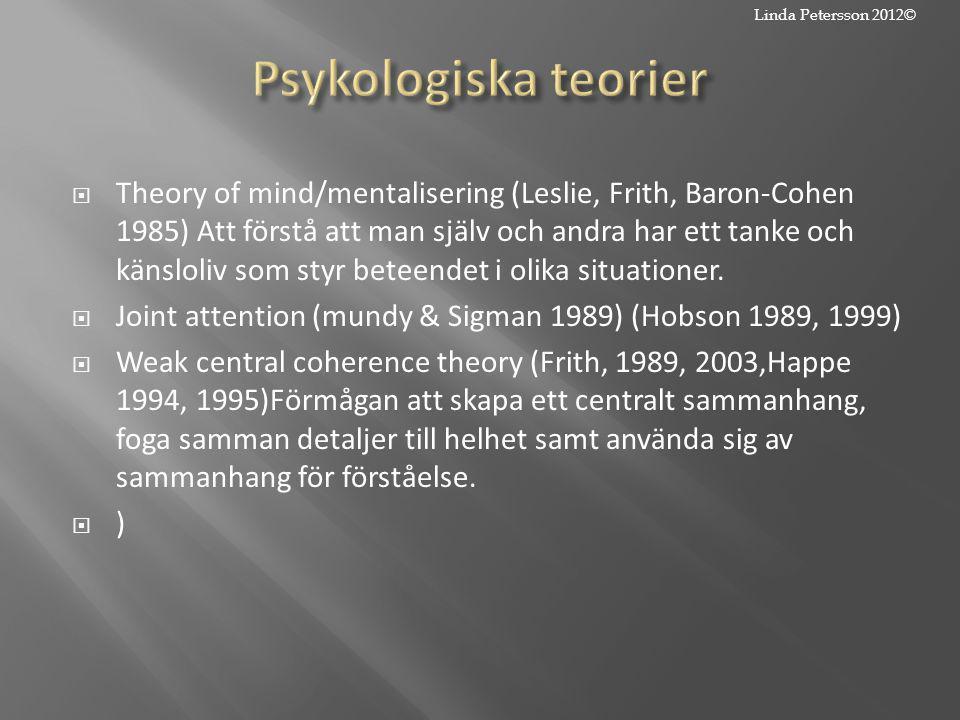  Theory of mind/mentalisering (Leslie, Frith, Baron-Cohen 1985) Att förstå att man själv och andra har ett tanke och känsloliv som styr beteendet i o