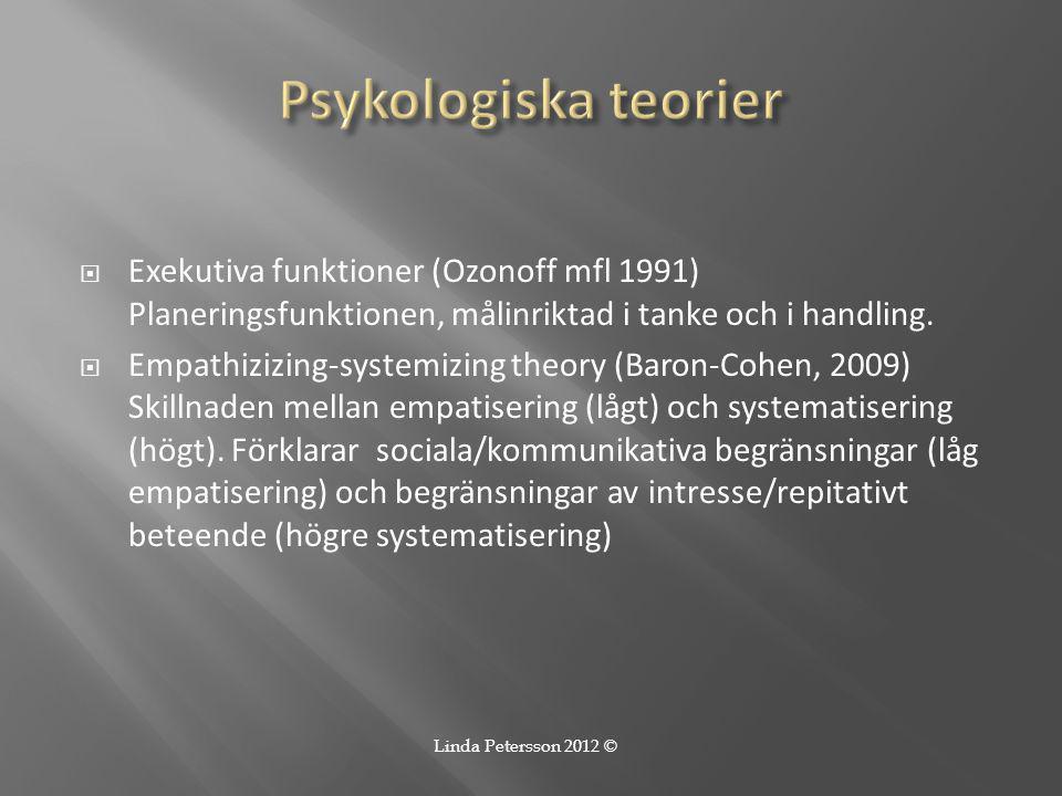  Exekutiva funktioner (Ozonoff mfl 1991) Planeringsfunktionen, målinriktad i tanke och i handling.  Empathizizing-systemizing theory (Baron-Cohen, 2