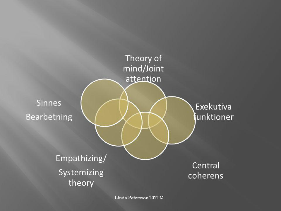 Theory of mind/Joint attention Exekutiva funktioner Central coherens Empathizing/ Systemizing theory Sinnes Bearbetning Linda Petersson 2012 ©