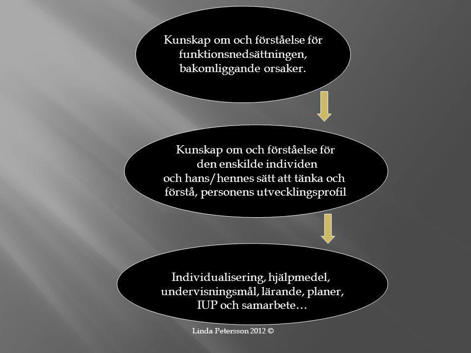 Kunskap om och förståelse för funktionsnedsättningen, bakomliggande orsaker. Kunskap om och förståelse för den enskilde individen och hans/hennes sätt