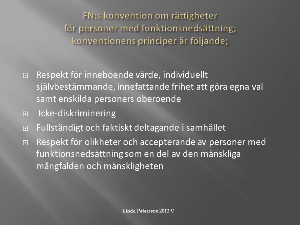  Respekt för inneboende värde, individuellt självbestämmande, innefattande frihet att göra egna val samt enskilda personers oberoende  Icke-diskrimi