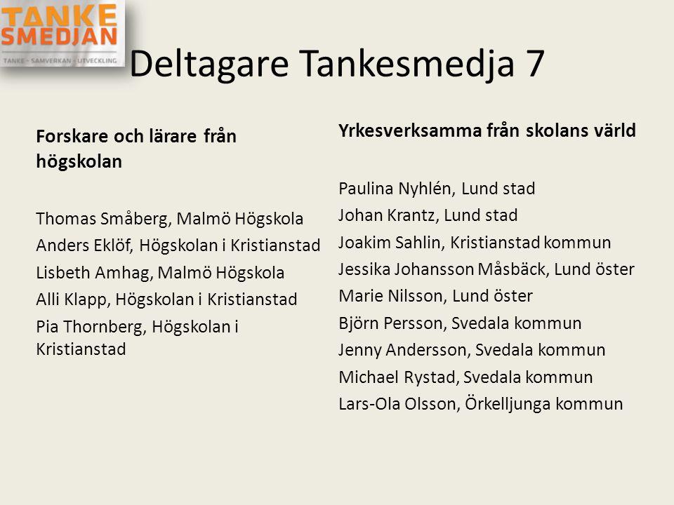 Deltagare Tankesmedja 7 Forskare och lärare från högskolan Thomas Småberg, Malmö Högskola Anders Eklöf, Högskolan i Kristianstad Lisbeth Amhag, Malmö