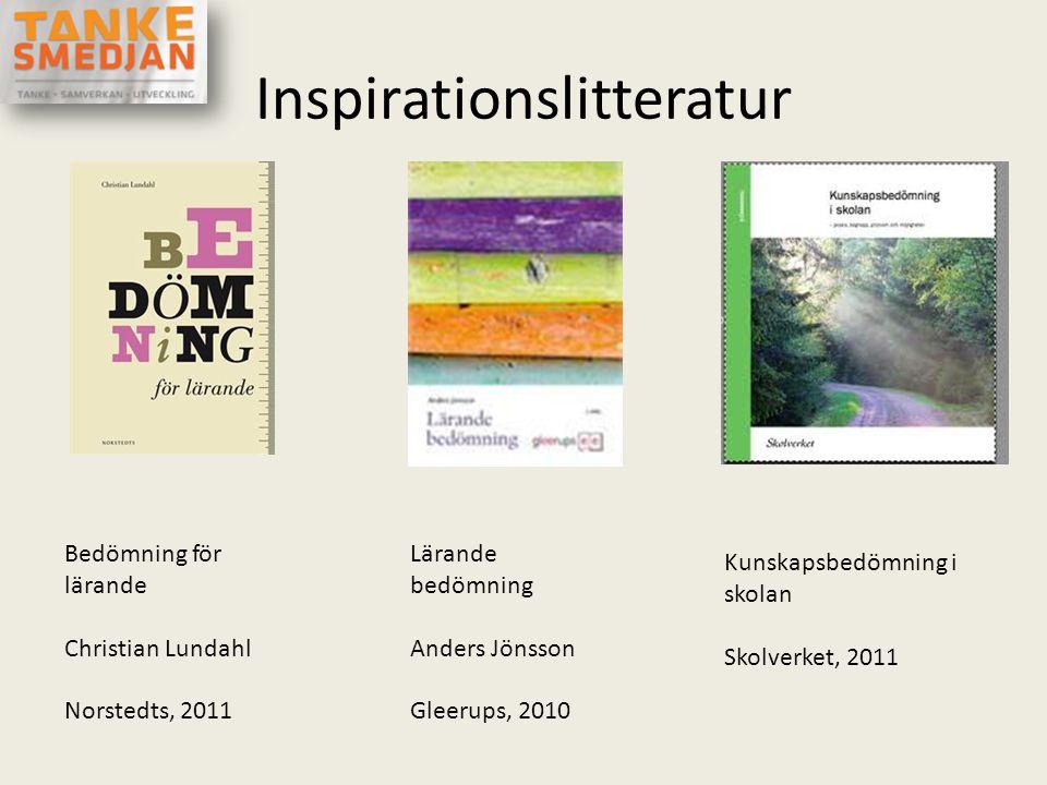 Inspirationslitteratur Bedömning för lärande Christian Lundahl Norstedts, 2011 Lärande bedömning Anders Jönsson Gleerups, 2010 Kunskapsbedömning i sko
