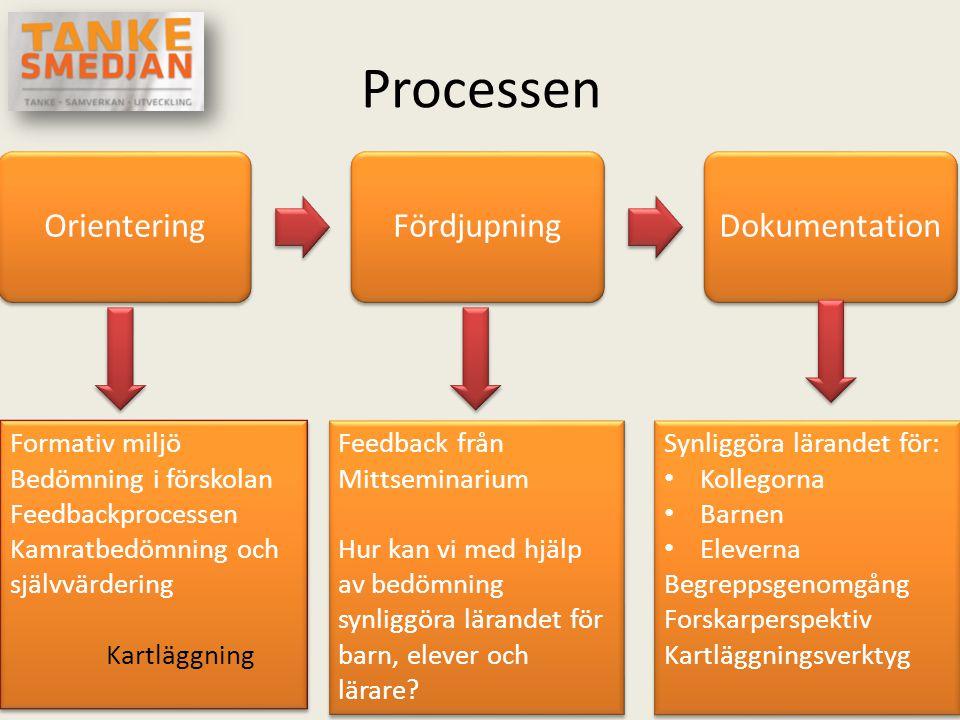 Processen OrienteringFördjupningDokumentation Formativ miljö Bedömning i förskolan Feedbackprocessen Kamratbedömning och självvärdering Kartläggning F