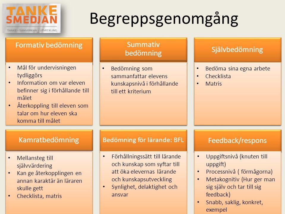 Begreppsgenomgång Formativ bedömning • Mål för undervisningen tydliggörs • Information om var eleven befinner sig i förhållande till målet • Återkoppl