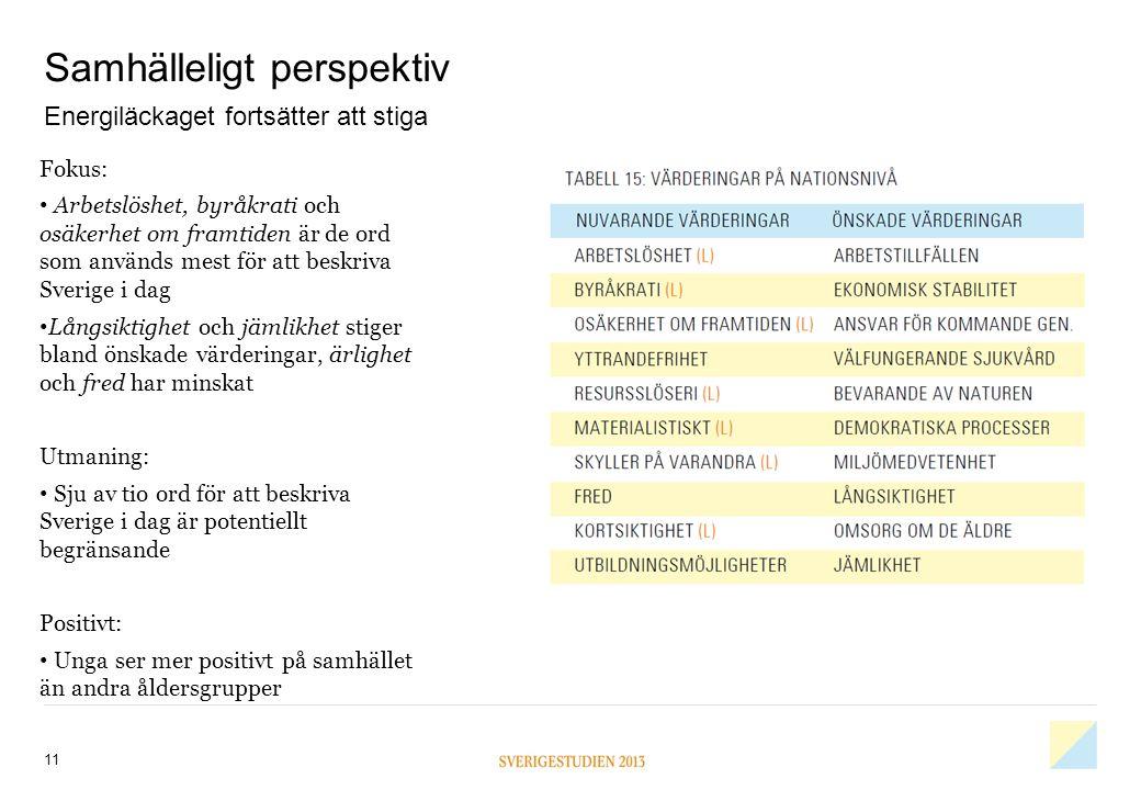 Samhälleligt perspektiv 11 Fokus: • Arbetslöshet, byråkrati och osäkerhet om framtiden är de ord som används mest för att beskriva Sverige i dag • Lån