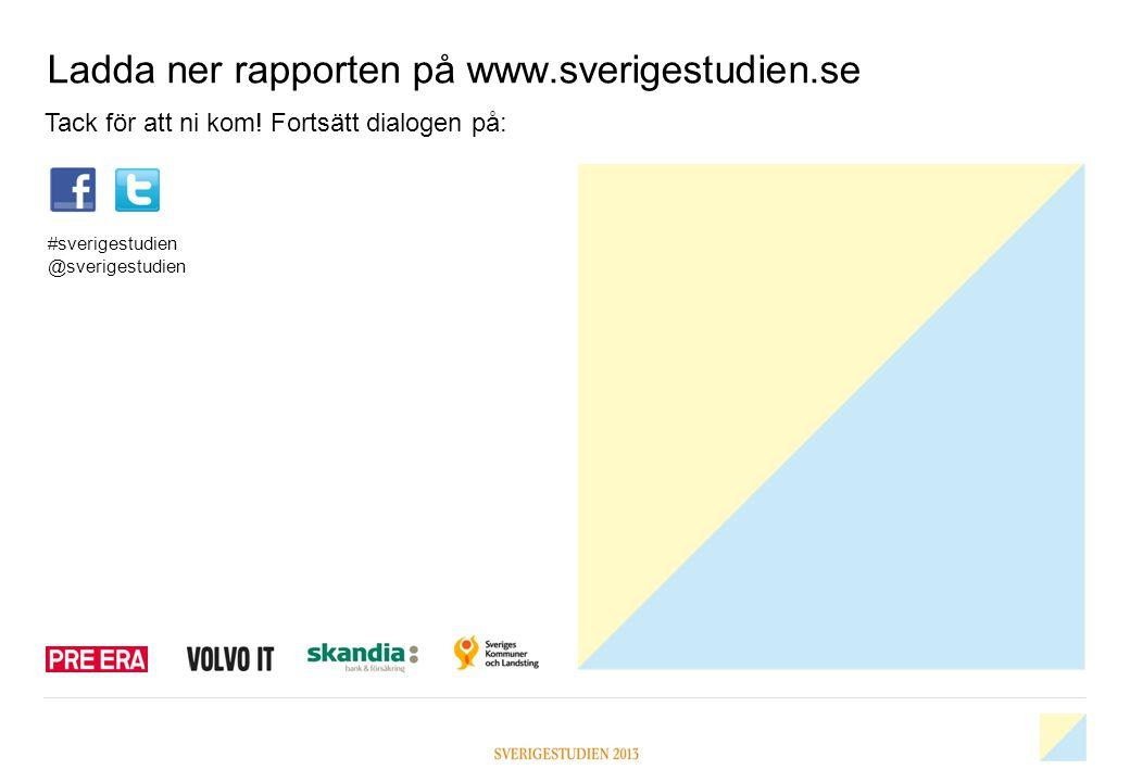 Ladda ner rapporten på www.sverigestudien.se Tack för att ni kom! Fortsätt dialogen på: #sverigestudien @sverigestudien