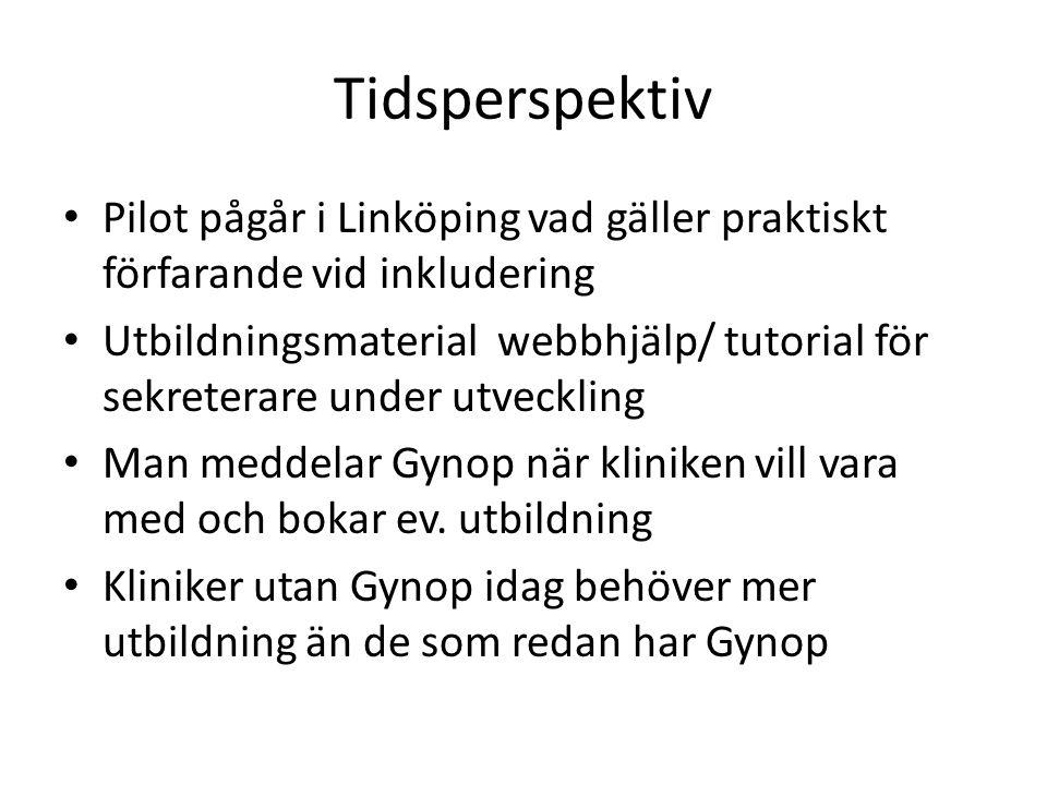 Tidsperspektiv • Pilot pågår i Linköping vad gäller praktiskt förfarande vid inkludering • Utbildningsmaterial webbhjälp/ tutorial för sekreterare under utveckling • Man meddelar Gynop när kliniken vill vara med och bokar ev.