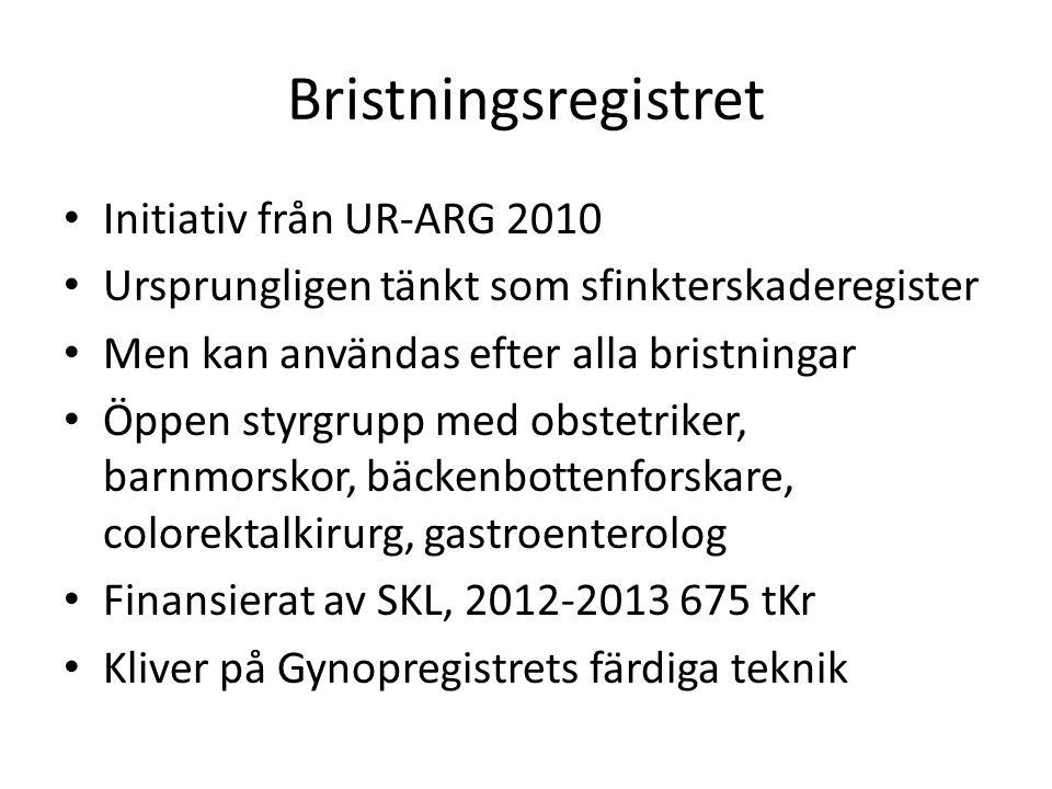 Bristningsregistret • Initiativ från UR-ARG 2010 • Ursprungligen tänkt som sfinkterskaderegister • Men kan användas efter alla bristningar • Öppen styrgrupp med obstetriker, barnmorskor, bäckenbottenforskare, colorektalkirurg, gastroenterolog • Finansierat av SKL, 2012-2013 675 tKr • Kliver på Gynopregistrets färdiga teknik