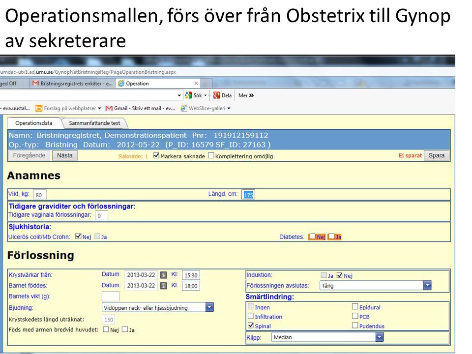 Operationsmallen, förs över från Obstetrix till Gynop av sekreterare