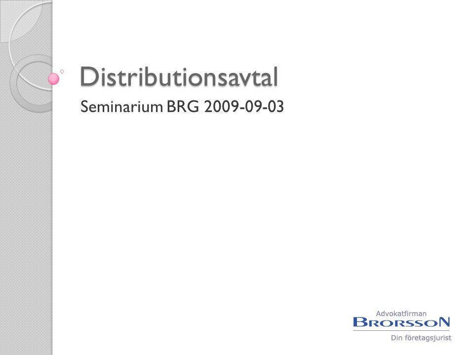 Distributionsavtal  Handelsagentur  Återförsäljaravtal  Franchising  Kommission
