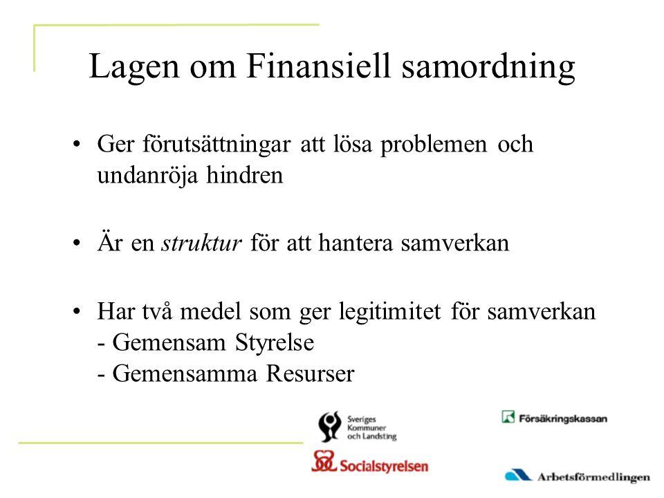 Lagen om Finansiell samordning •Ger förutsättningar att lösa problemen och undanröja hindren •Är en struktur för att hantera samverkan •Har två medel som ger legitimitet för samverkan - Gemensam Styrelse - Gemensamma Resurser