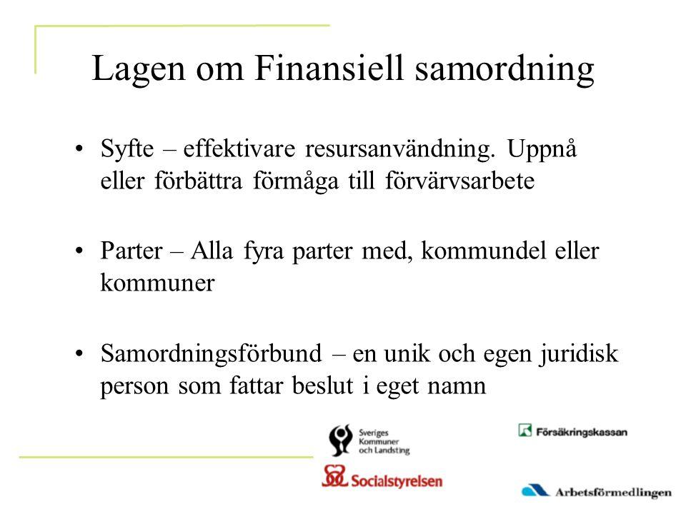 Lagen om Finansiell samordning •Syfte – effektivare resursanvändning. Uppnå eller förbättra förmåga till förvärvsarbete •Parter – Alla fyra parter med