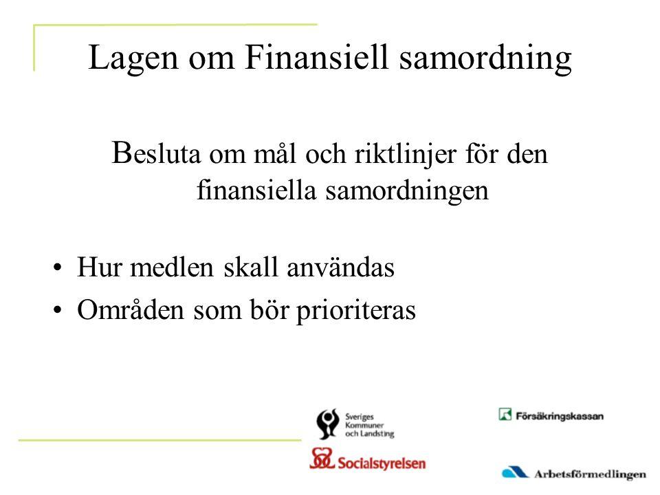 Lagen om Finansiell samordning B esluta om mål och riktlinjer för den finansiella samordningen •Hur medlen skall användas •Områden som bör prioriteras