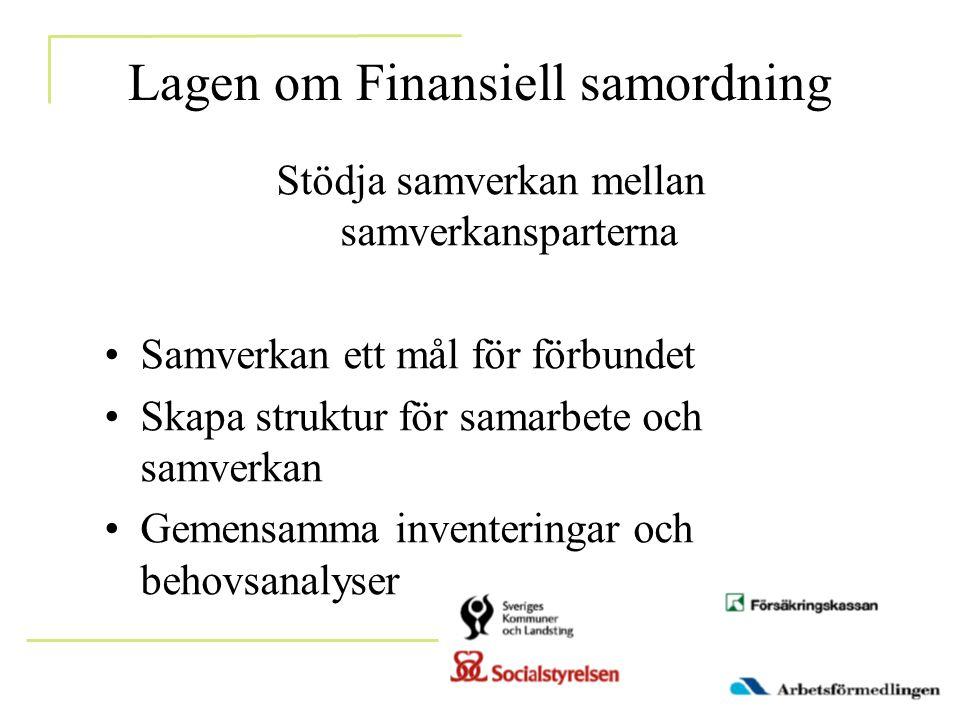 Lagen om Finansiell samordning Stödja samverkan mellan samverkansparterna •Samverkan ett mål för förbundet •Skapa struktur för samarbete och samverkan •Gemensamma inventeringar och behovsanalyser