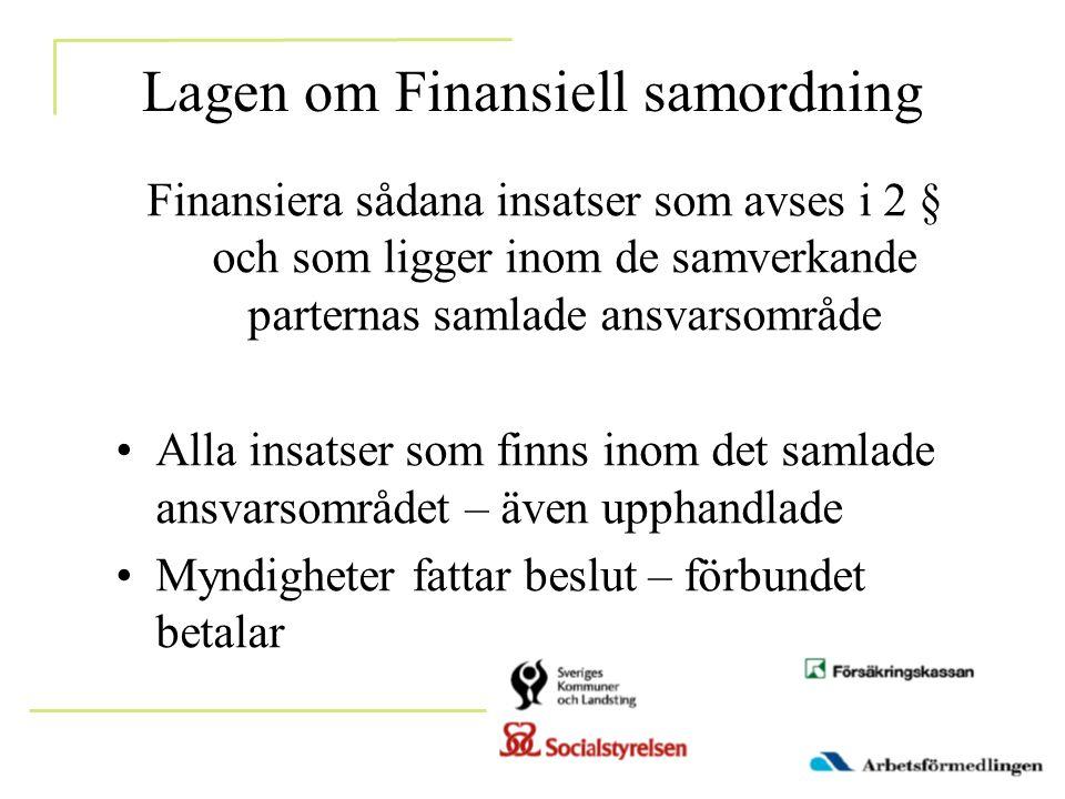 Lagen om Finansiell samordning Finansiera sådana insatser som avses i 2 § och som ligger inom de samverkande parternas samlade ansvarsområde •Alla ins