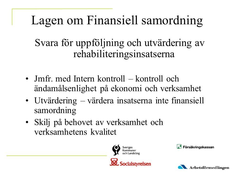 Lagen om Finansiell samordning Svara för uppföljning och utvärdering av rehabiliteringsinsatserna •Jmfr. med Intern kontroll – kontroll och ändamålsen