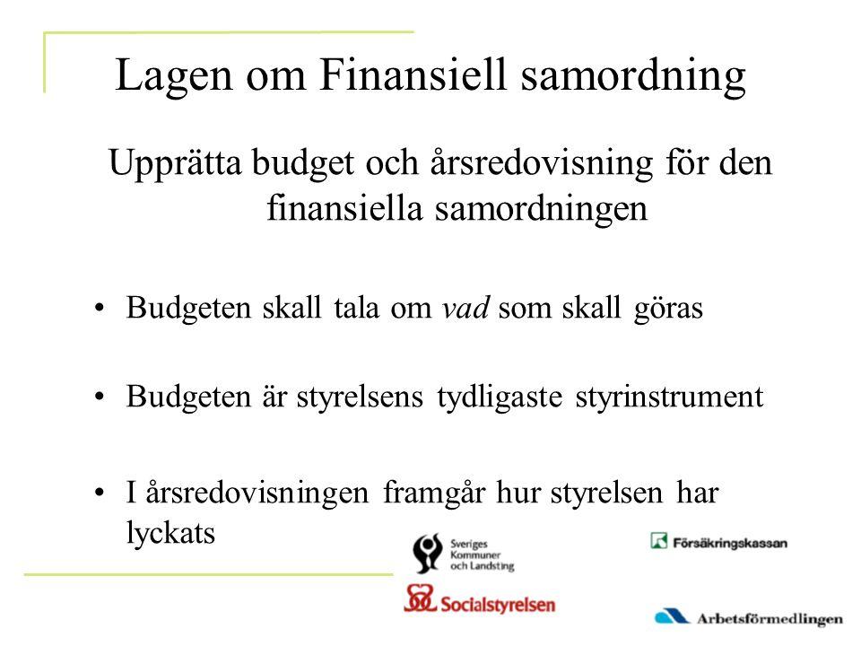 Lagen om Finansiell samordning Upprätta budget och årsredovisning för den finansiella samordningen •Budgeten skall tala om vad som skall göras •Budgeten är styrelsens tydligaste styrinstrument •I årsredovisningen framgår hur styrelsen har lyckats
