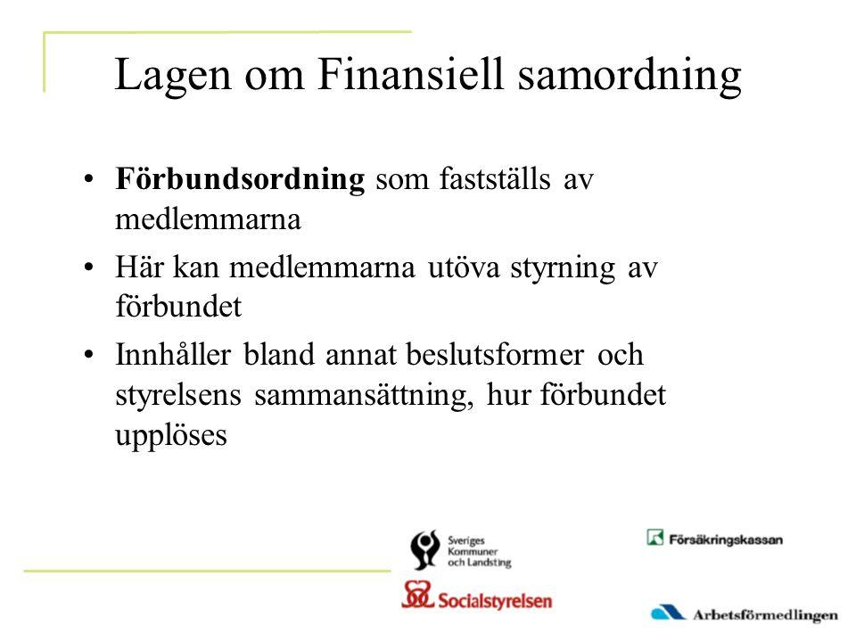 Lagen om Finansiell samordning •Förbundsordning som fastställs av medlemmarna •Här kan medlemmarna utöva styrning av förbundet •Innhåller bland annat beslutsformer och styrelsens sammansättning, hur förbundet upplöses
