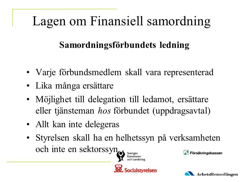 Lagen om Finansiell samordning Samordningsförbundets ledning •Varje förbundsmedlem skall vara representerad •Lika många ersättare •Möjlighet till dele